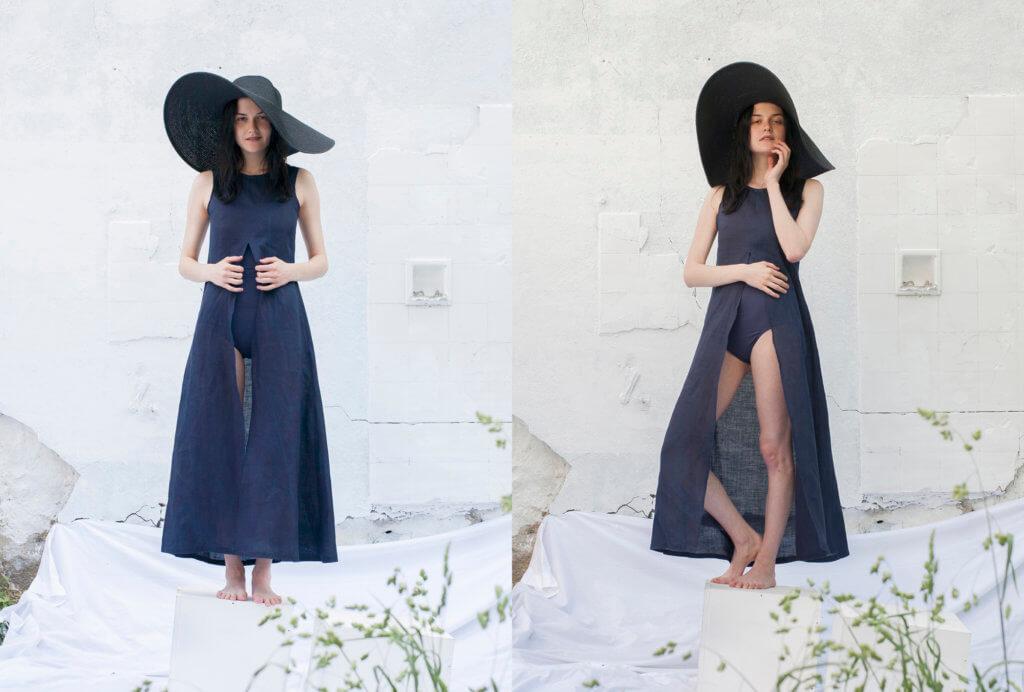 Robe droite fendue Noémie Devime, © Cécile Champy, modèle Catherine Pyslar